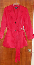 Style & Co. Woman's 18W Red Rain & Wind Belted Trench  Coat Cotton/ Nylon Blend