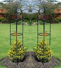 Lot de 2 jardin obelisque plantes grimpantes support roses metal arch 1.9m high paire