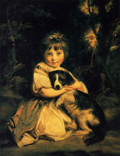 Oil painting Joshua Reynolds - Love me, Love my dog Little girl withher pet dog