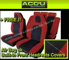 Red Black Velour Fabric Front Built In Headrests Airbag OK Car Seat Covers Set