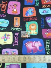 JUNGLE THINGS ANIMAL SELFIES & NAMES BLACK BY RJR FABRICS COTTON FABRIC FH-2231