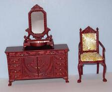 HANSSON DRESSER WITH MIRROR AND CHAIR  MINIATURE DOLL HOUSE FURNITURE