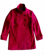 BEBE~RED CASHMERE WOOL FUNNEL NECK DOUBLE BREASTED JACKET COAT~M~EUC