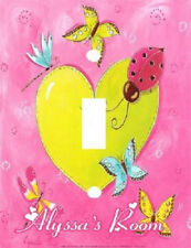 PERSONALIZED COLORFUL BUTTERFLY LADY BUG HEARTS LIGHT SWITCH PLATE COVER