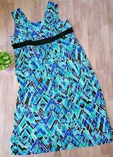 Susan Graver Blue Green Black Sleeveless Maxi Dress Plus Size 3x Stretch Spring
