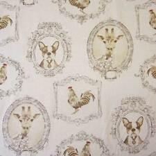 Stoff Baumwolle Meterware beige  Bilder Bilderrahmen Giraffe Hahn Hund Neu
