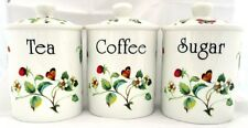 Strawberries & Butterflies Tea Coffee Sugar Canisters Bone China Hand Decor UK