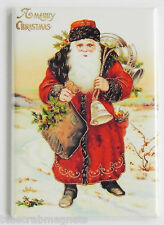 Father Christmas FRIDGE MAGNET (2 x 3 inches) santa claus red suit sack postcard