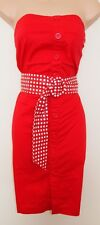 BAY BUTTONED BELTED SPOTS TUBE PENCIL BODYCON BANDEAU RETRO RARE DRESS 12 M