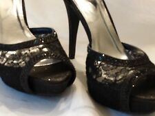 NEW DEB black lace open toe high heel dress shoes Size 9 M with 5 1/2 inch heel
