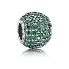 New Authentic Pandora Pave Lights Dark Green CZ Charm with POUCH 791051CZN