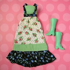 Vintage Mod 3312 Busy Steffie Doll Original Maxi Dress + Green Boots 1972 EXCLNT