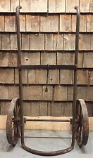 Antique Gas Station Oil Drum Barrel 50 Lb Cart Carrier Rack All Cast Iron SUPER!