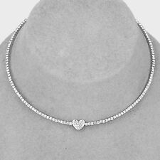 "15"" silver tennis clear crystal .25"" heart coil choker collar necklace"