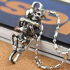 Hot Men Infinity Tibet Silver Black Stainless Steel Skull Pendant Chain Necklace