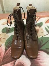 Ann Demeulemeester Brown Leather Lace Up Chunky Heel Ankle Boots SZ 41