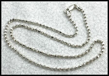 VINTAGE .925 Sterling Silver, 3mm Squared Bead Chain Necklace, 18""