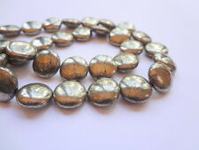 12mm Disk Genuine Gold Pyrite Semi Precious Gemstone Beads -Half Strand
