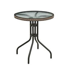 Round Tempered Clear Glass Top Woven Ring Trim Steel Frame Patio Bistro Table