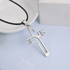 Mens Unisex Stainless Steel Leather Necklace Pendant Cross L72