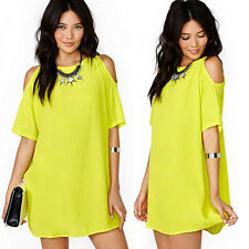 Womens Casual Summer Party Tops Beach Short Mini Dress Beachwear Bikini Cover-Up