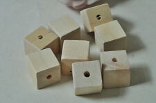 8pcs Large Square Cube Wood Bead Natural Wooden Unfinished Necklace Punk Craft