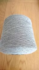 10% Cashmere 90% Lambs wool Yarn In Silver 850g Cone .2ply machine Knit.Uk Spun.