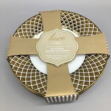 x4 Ciroa Luxe Lattice Metallic Gold Appetizer Dessert Plate Set Holiday NEW