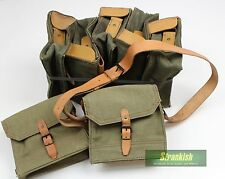 FRANCE FRENCH ARMY CANVAS & LEATHER AMMO SHOULDER BAG 21x19x10cm (TYPE 2)