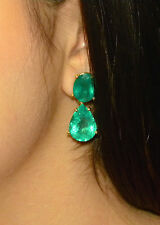 33.18ct  NATURAL COLOMBIAN EMERALD DANGLE EARRINGS 18K GOLD
