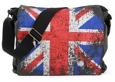 London Union Jack Messenger Bag | Canvas Bag Black | Robin Ruth UK | Satchel Bag