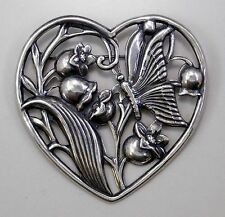 #3021 ANTIQUED SS/P FLORAL/BUTTERFLY OPEN HEART BROOCH - 1 Pc Lot