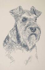 Miniature Schnauzer Dog Art Portrait Print #57 Kline adds your dogs name free.