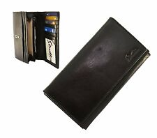 Ladies Quality Black Leather Slimline Purse with Card Flap   Stratton of Mayfair