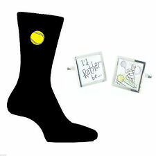 I'd rather be playing tennis Comedy Cufflinks and Tennis Ball Design Socks