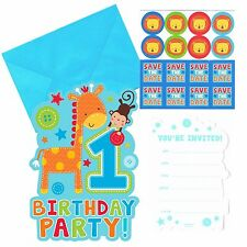 """One"" Wild Boy - Fun to be One - 1st Birthday Party Invitations plus Stickers 8"
