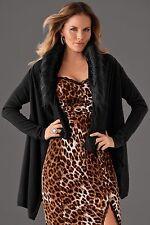 NEW M 10-12 $119 BOSTON PROPER Open Front Faux Fur Draped Cardigan Sweater Wrap