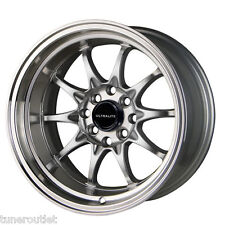 "ULTRALITE UL48 15"" x 9J ET0 4x100 4x108 DEEP DISH SILVER LIP ALLOY WHEELS Y2958"