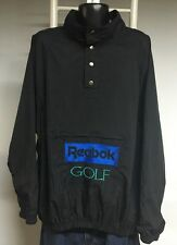 Vintage 90's REEBOK GOLF Black T Snap Pullover Spell out Jacket Mens XL hip-hop