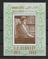 MAHRA STATE , SOUTH ARABIA , KENNEDY , SOUVENIR SHEET,  PERF , VLH
