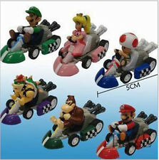 "Set of 6pc Super Mario Bros 2"" Kart Pull Back Car Figure Set toy"