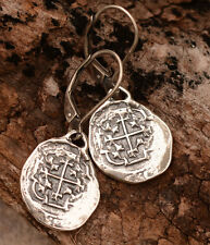 Treasure Coins, Spanish Reale Earrings in Sterling Silver, Atocha Coins