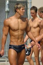 Shirtless Male Muscular Blond Swimmer Athletic Jock In Speedo PHOTO 4X6 C262
