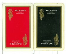 """Two Single Vintage Playing Cards """"100 Pipers"""" DeLuxe Scotch Whisky"""