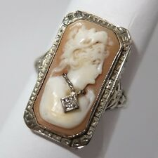 ANTIQUE ART DECO 14K WHITE GOLD FILIGREE CARVED SHELL DIAMOND HABILLE CAMEO RING