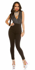 Womens Glitter Plunge Neck Stretch Jumpsuit Overall - S/M/L