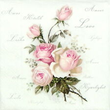 4x Single Table Party Paper Napkins for Decoupage Craft Vintage Amore Roses