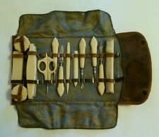 Antique French Ivory Celluloid MANICURE SET in Leather & Cloth Roll