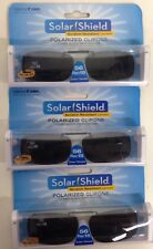 6 SOLAR SHIELD Clip-on Polarized Sunglasses Size 56 rec 15 Black lens Frameless