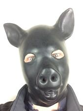 LATEX RUBBER BLACK GUM FETISH PIG MASK FULL HEAD HOOD PIGGY ANIMAL SUIT